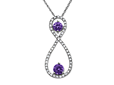 Tanzanite and 1/8 ct Diamond Pendant in 14K White Gold
