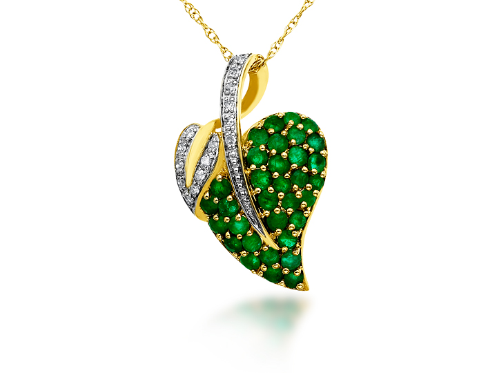 Emerald Leaf Pendant Necklace in 14K Gold with Diamonds from Jewelry.com