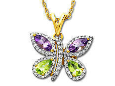 1/5 ct Diamond, Amethyst and Peridot Butterfly Pendant in 14K Gold