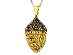 Yellow Sapphire and Diamonds Acorn Pendant in 14K Gold