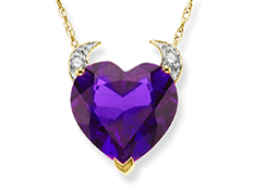 2 3/4 ct Amethyst Devil Heart Pendant with Diamonds in 10K Gold