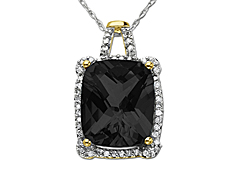 Onyx and 1/8 ct Diamond Pendant in 14K  Gold