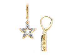 1/6 ct Diamond Star Drop Earrings in 14K Gold