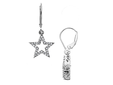 1/5 ct Diamond Star Drop Earrings in 14K White Gold