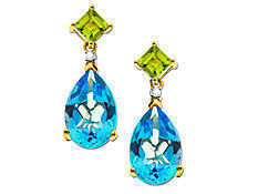Blue Topaz and Peridot Earrings in 14K Gold with Diamonds