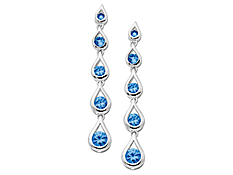 Swiss Blue Topaz Dangle Earrings in 14K White Gold