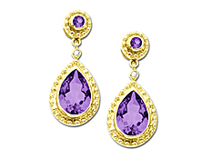 Amethyst Drop Earrings with Diamonds in 14K Gold