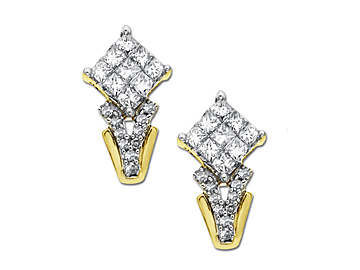 1/2 ct Princess-Cut Diamond Earrings in 14K Gold from Jewelry. com