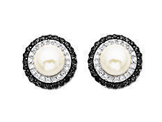 Freshwater Pearl and 3/8 ct Black and White Diamond Earrings in 14K White Gold