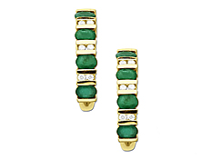 Emerald and Diamond Earrings in 14K Gold