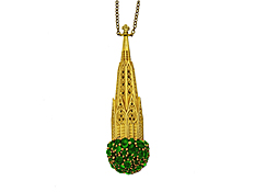 St Patrick's Cathedral Necklace - 10.84 cts of Emeralds in 22K Yellow Gold