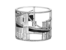 Manhattan Collection: Bridges of New York Cuff - 28.5 cts of Diamonds in 18K White Gold