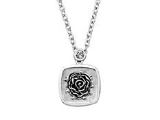 Crystal Rose Pendant in Stainless Steel