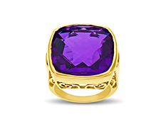 23 1/2 ct Orchid Purple Quartz Ring in 14K Gold over Bronze - Size 8