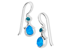 Sajen Pacific Blue Opal and Celestial Paraiba Quartz Drop Earrings in Sterling Silver