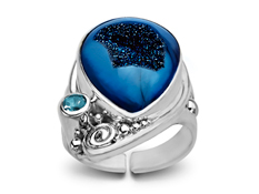 Steel Blue Azotic Druzy and Sky Quartz Ring in Sterling Silver, by Sajen