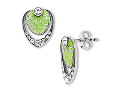 Van Kempen Art Deco Enamel Orchid Earrings with Swarovski Crystal in Sterling Silver