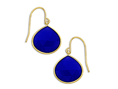9 ct Dark Blue Chalcedony Drop Earrings in 10K Gold, by Vincenza