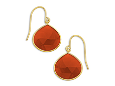 9 ct Carnelian Drop Earrings in 10K Gold, by Vincenza