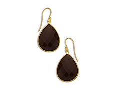 25 ct Smokey Quartz Drop Earrings in 18K Gold over Sterling Silver, by Vincenza