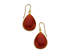 33 ct Red Onyx Drop Earrings in 18K Gold over Sterling Silver, by Vincenza