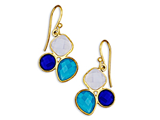 8 3/4 ct Blue, Deep Blue and Aqua Chalcedony Drop Earrings in 18K Gold over Sterling Silver, by Vincenza
