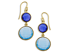 18 ct Blue and Medium Blue Chalcedony Drop Earrings in 18K Gold over Sterling Silver, by Vincenza