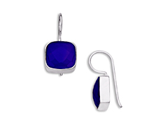 5 1/2 ct Dark Blue Chalcedony Drop Earrings in Sterling Silver, by Vincenza