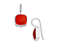 5 1/2 ct Carnelian Drop Earrings in Sterling Silver, by Vincenza