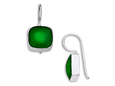 5 1/2 ct Green Onyx Drop Earrings in Stelring Silver, by Vincenza