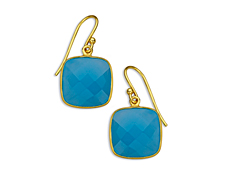 13 5/8 ct Sea Blue Chalcedony Drop Earrings in 18K Gold over Sterling Silver, by Vincenza