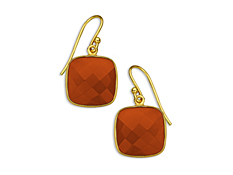 13 5/8 ct Red Onyx Drop Earrings in 18K Gold over Sterling Silver, by Vincenza