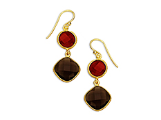 13 1/2 ct Red Onyx and Smokey Topaz Earrings in 18K Gold over Sterling Silver, by Vincenza