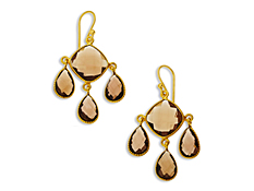 19 1/2 ct Smokey Quartz Chandelier Earrings in 18K Gold over Sterling Silver, by Vincenza