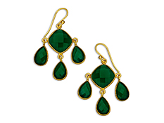 19 1/2 ct Green Onyx Chandelier Earrings in 18K Gold over Sterling Silver, by Vincenza