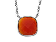 7 1/2 ct Red Onyx Necklace in Sterling Silver, by Vincenza
